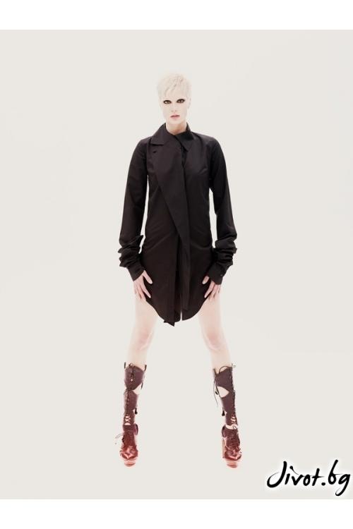 Черна памучна деконструктивна риза с дълги, луди ръкави / MARIA QUEEN MARIA