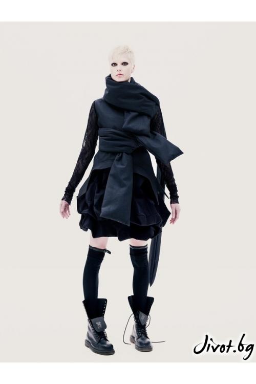 Черно дамско сако с дантелени ръкави / Maria Queen Maria