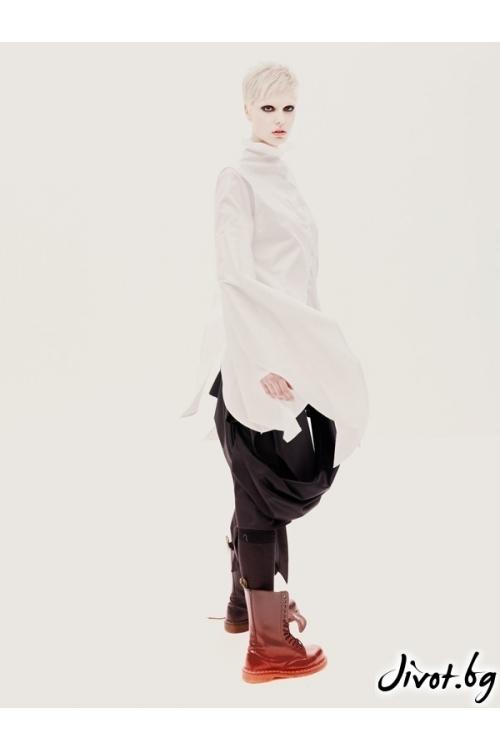 Памучна дамска деконструктивна бяла риза Maria Queen Maria