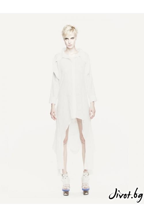 Памучна бяла асиметрична риза с двойни ръкави / Maria Queen Maria