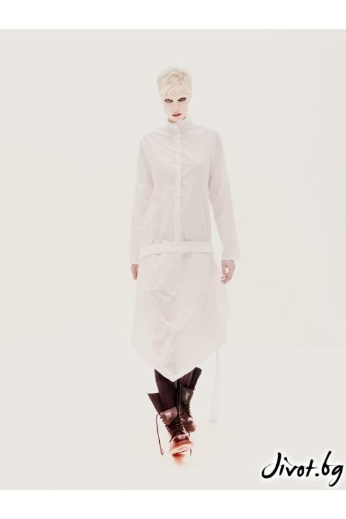 Бяла дамска памучна асиметрична риза / Maria Queen Maria