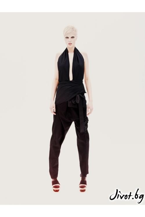 Черен дамски панталон/гащеризон Maria Quen Maria
