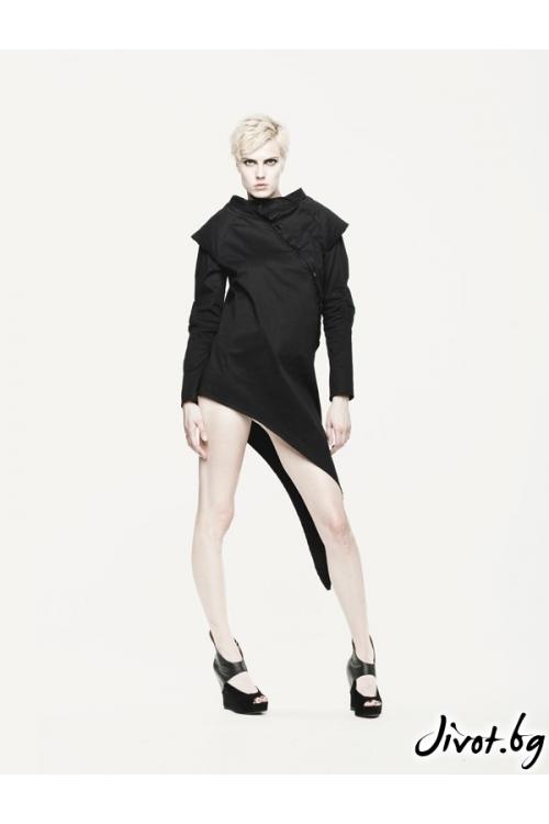 Сако черно дамско с подплънки на ръкавите и раменете / MARIA QUEEN MARIA