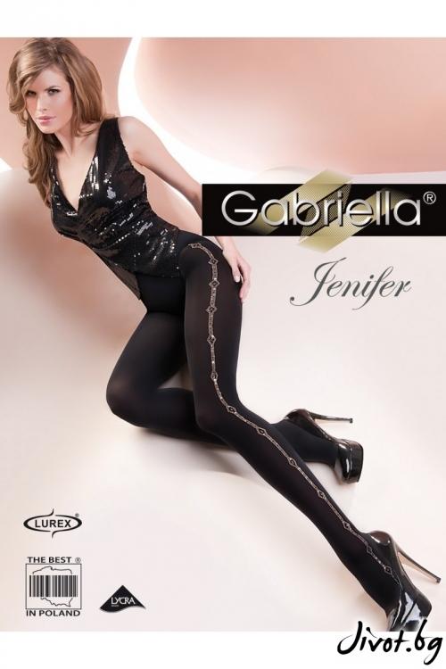 Черни Плътни Фигурални Чорапогащи Gabriella / JENIFER