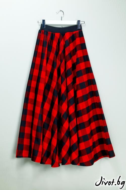 Дълга дамска пола на червено и черно каре / VЯRA за MUSE SHOP