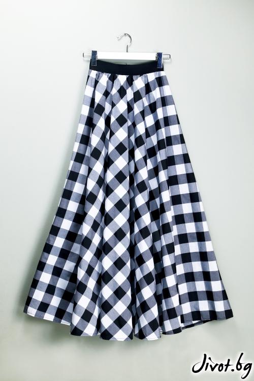 Дълга дамска пола на бяло и черно каре / VЯRA за MUSE SHOP