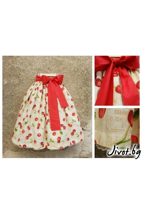 Прелестна пола на черешки с червен колан  / Cherie Marie