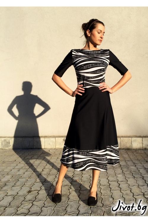 Красива рокля на черно бели вълни / Muna Goleva
