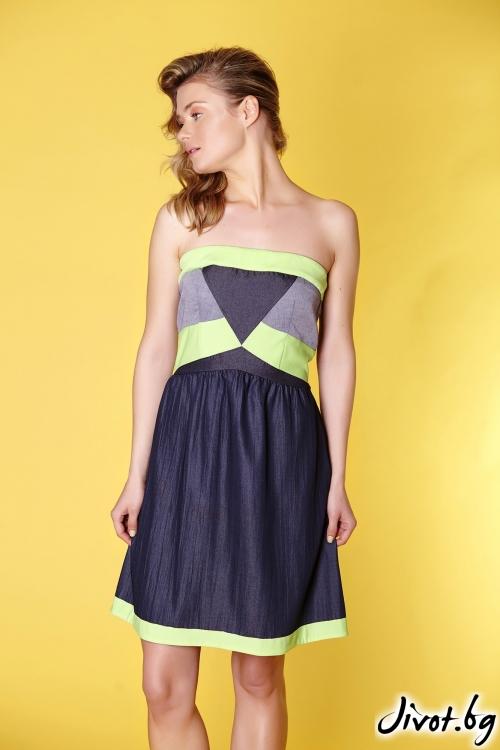 Дамска къса рокля от три вида деним без презрамки / Fashion House Ambitsia