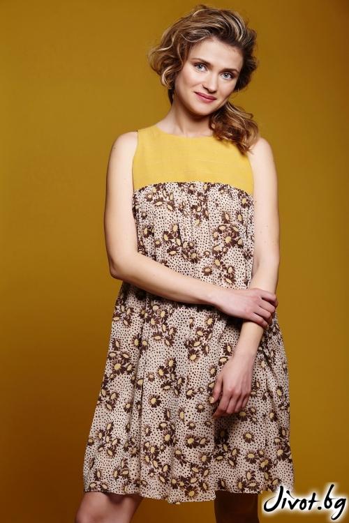 Нежна дамска рокля от вискоза и копринен шифон / Модна къща АМБИЦИЯ