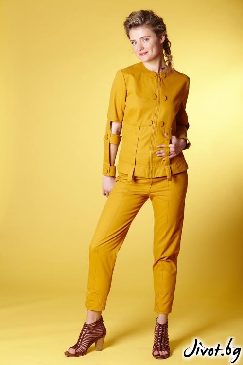 Дамски комплект от яке и панталон в цвят шафран / Модна къща АМБИЦИЯ