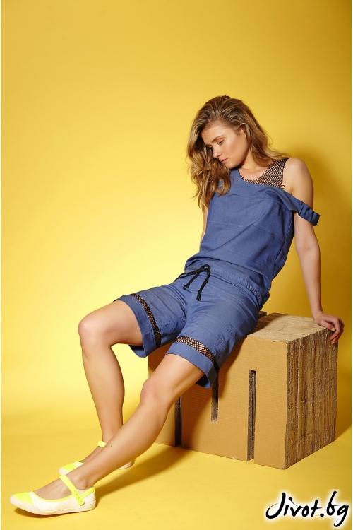 Дамски гащеризон с къси панталони от летен деним в комбинация с мрежа / Модна къща АМБИЦИЯ