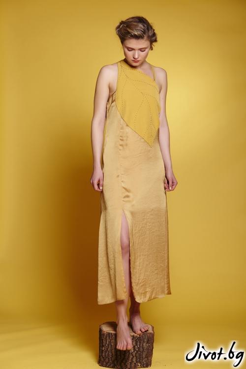 Дълга дамска рокля с декоративно листо и ръчни тегели / Модна къща АМБИЦИЯ
