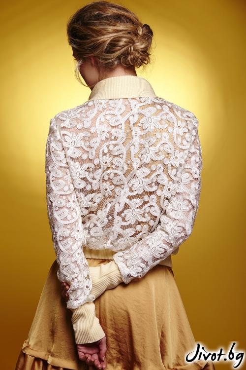 Дамско яке от дантела с джобове от тюл / Модна къща АМБИЦИЯ