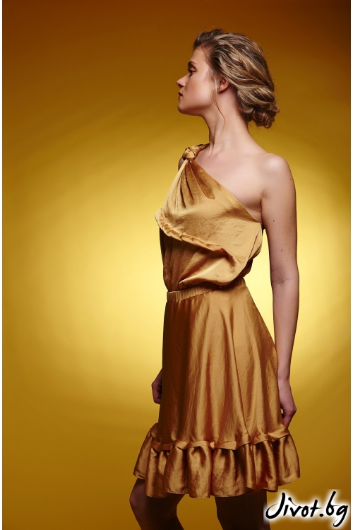 Разкроена дамска пола с ластик на талията цвят шафран / Модна къща АМБИЦИЯ