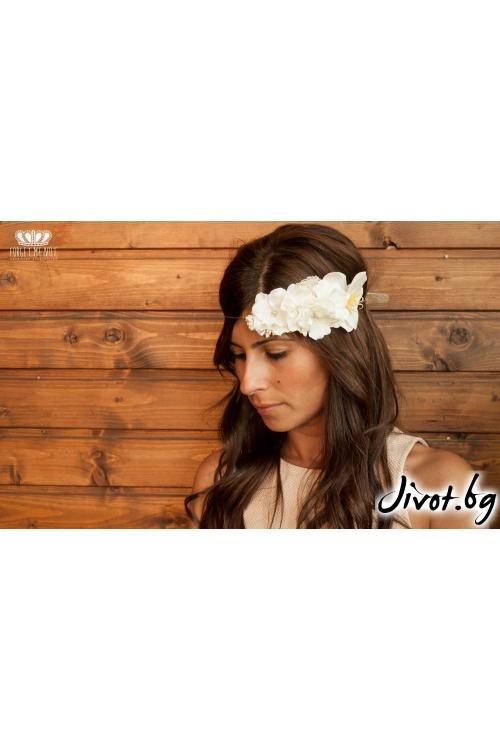"Дамска диадема с бели цветя ""Candy Cotton"" - Forget-Me-Not"