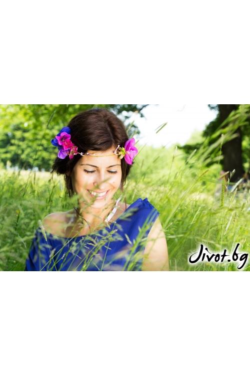 """Разкошна диадема с фрезии, орхидея и хортензии """"Vision of love"""" / Forget-me-not"""