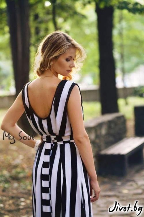 Дълга дамска рокля на черно-бяло раие / MY SOUL