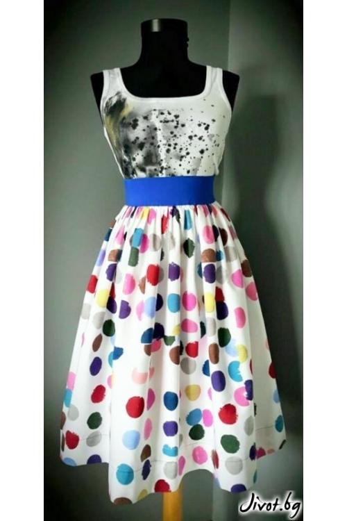 Дамска пола на цветни точки със син ластик / Райна Косовска за MUSE SHOP