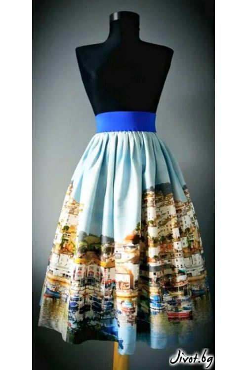 Пола от сатениран памук с ластик на талията / Райна Косовска за MUSE SHOP