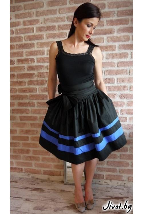 Черна дамска пола със сини кантове и скрити джобове / VERNE