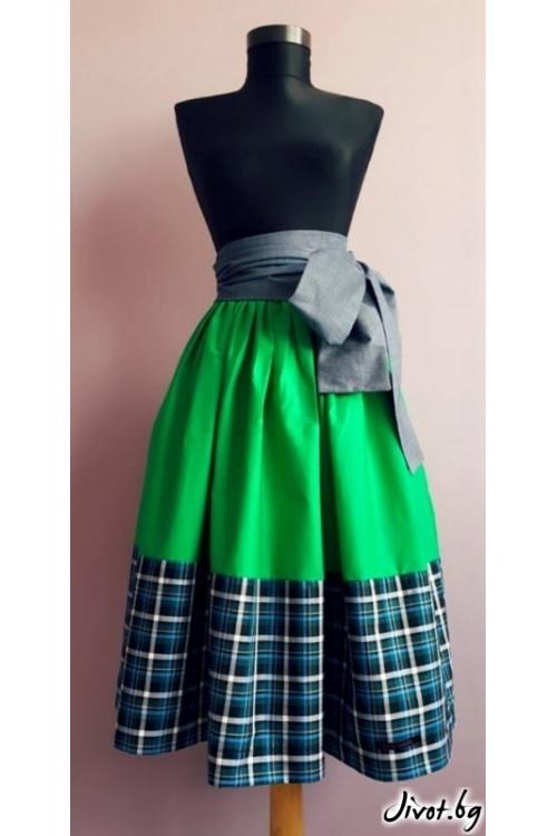 Зелена дамска пола с бордюр на каре и колан от дънков плат / Райна Косовска за MUSE SHOP