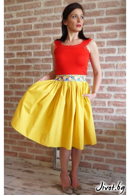 Жълта дамска пола с цветен ластик и скрити джобове / VERNE