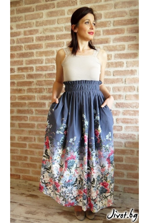 Дълга дамска пола с флорален десен и скрити джобове / VERNE