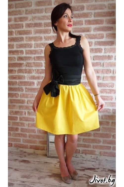 Къса жълта пола с ластик на талията / Свeтла Ангелова за MUSE SHOP