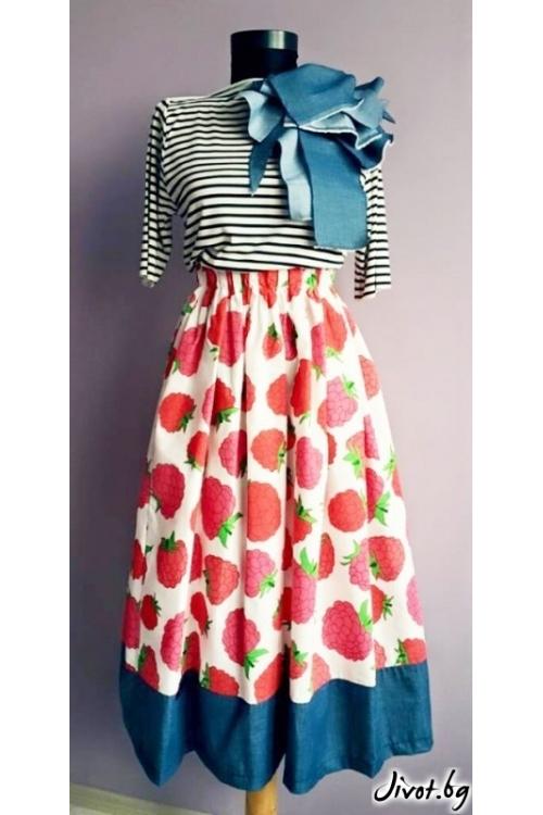 Разкошна дамска пола с богат набор и ластик на талията на малинки / Райна Косовска за MUSE SHOP