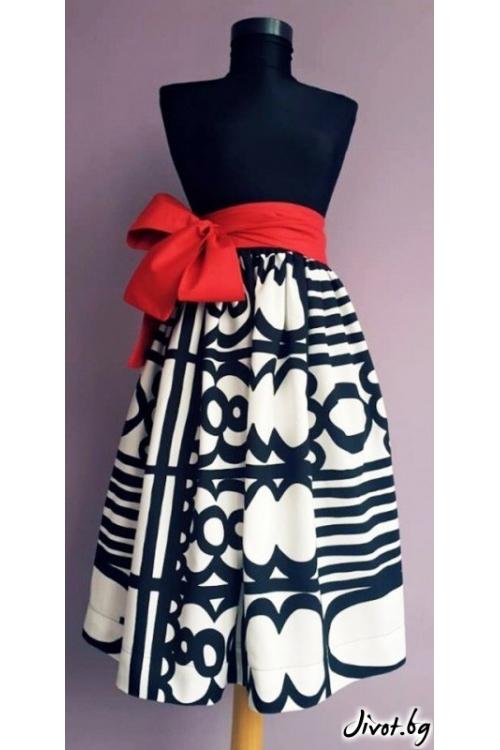 Черно бяла пола с червен колан / Райна Косовска за MUSE SHOP