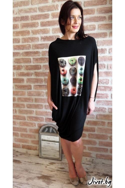 Черна дамска асиметрична рокля с принт / VЯRA за MUSE SHOP