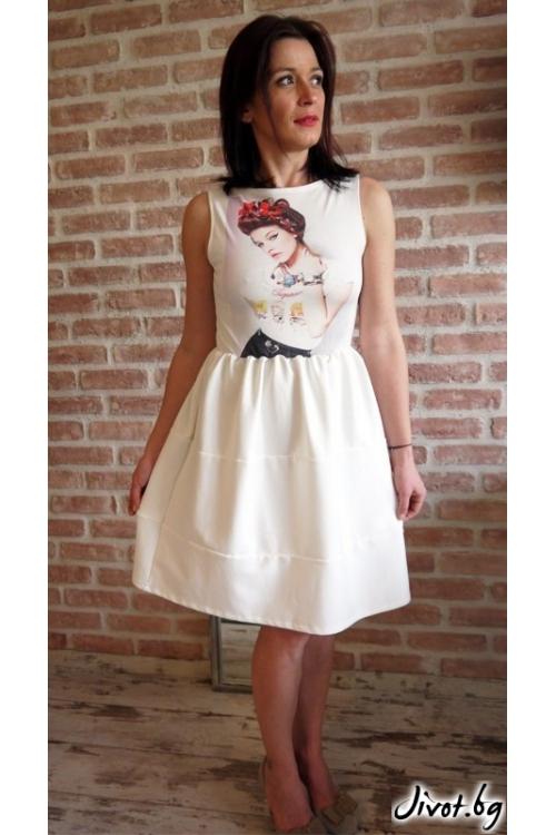 Дамска бяла рокля с набор в талията и красива щампа без ръкави / VЯRA за MUSE SHOP
