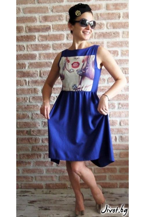 Синя дамска асиметрична рокля със щампа / VЯRA за MUSE SHOP