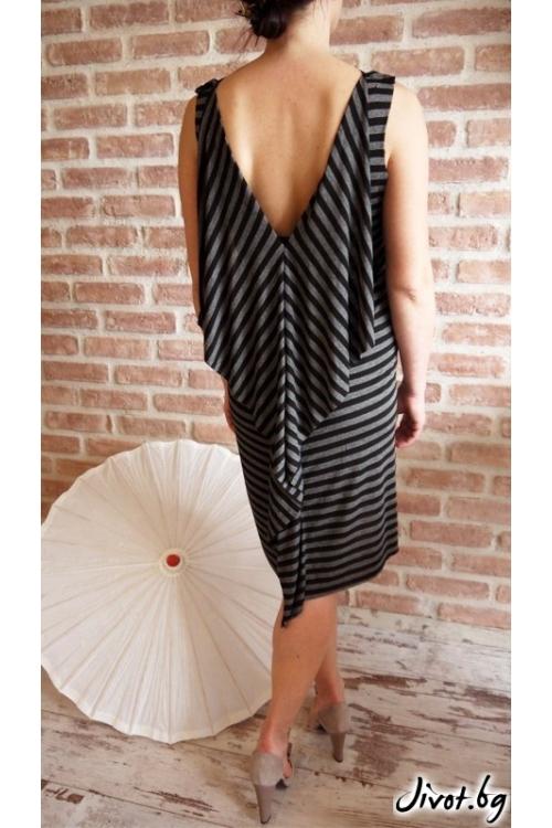 Прелестна дамска памучна рокля на раие с принт / VЯRA за MUSE SHOP