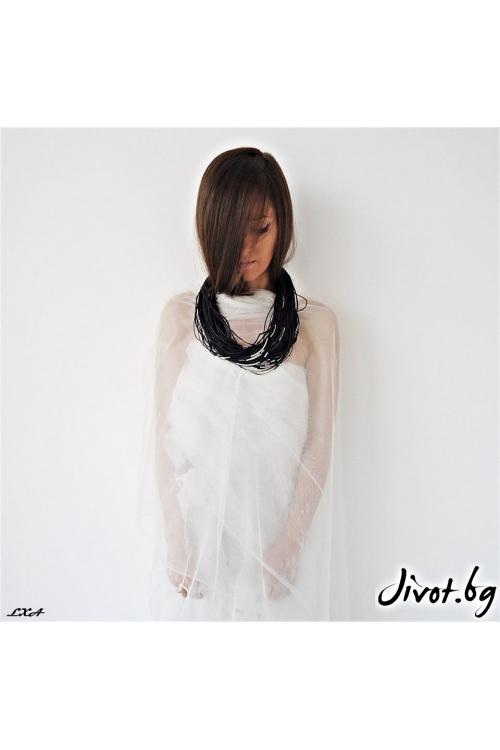 """""""Black Twist"""" Kолие изработено от черни текстилни въженца и метални тръбички/ LXA"""