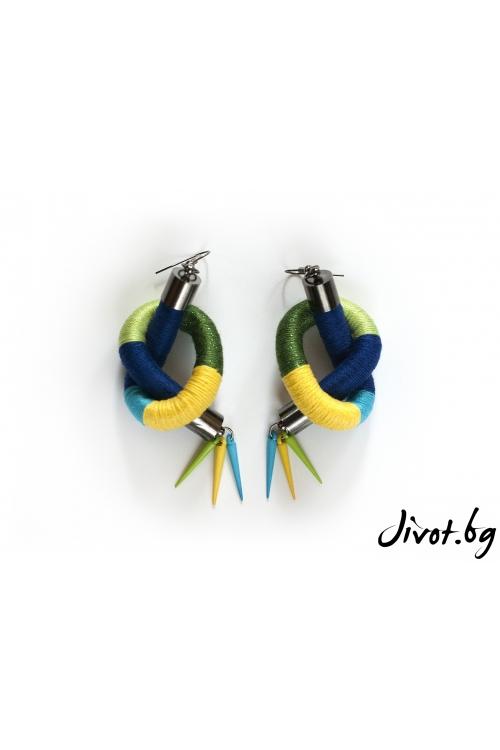 Прекрасни ръчно изработени дамски обеци в жълто, синьо, зелено и тюркоаз / KIA FIL STUDIOS