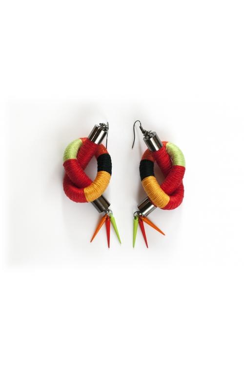 Арт бижута, дасмки обеци в червено, зелено,жълто,оранжево и черно / KIA FIL STUDIOS