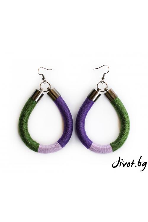 Дамски овални обеци в лилаво, зелено и лавандула / KIA FIL STUDIOS