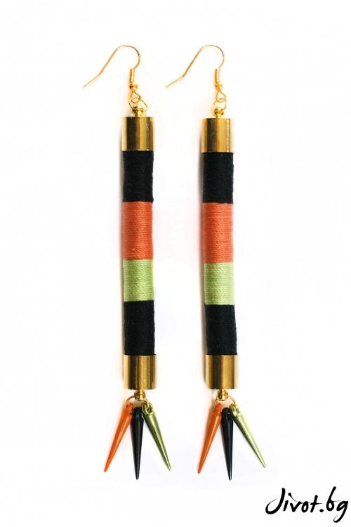 Дълги обеци от ръчно навити въжета и конци от памук в черно, зелено и оранжево с акрилни шишчета/ KIA FIL STUDIOS