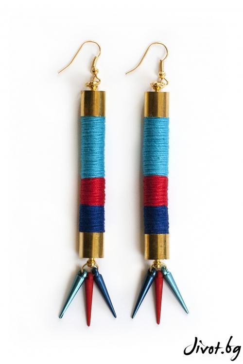 Дълги обеци от ръчно навити въжета и конци от памук в червено, тюркоаз и синьо/KIA FIL STUDIOS