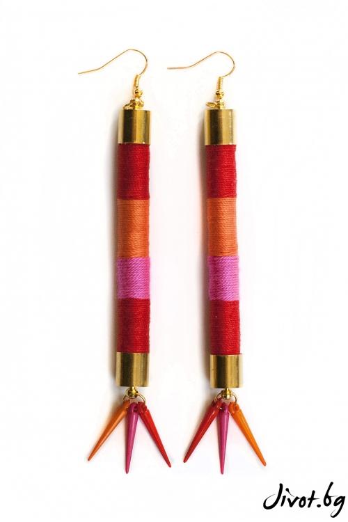 Дамски обеци от ръчно навити въжета и конци от памук в червено, оранжево и розово/KIA FIL STUDIOS