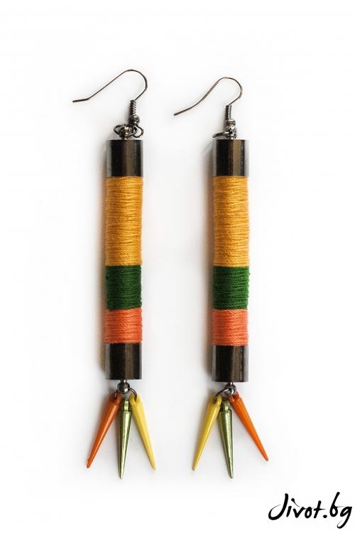 Ръчно изработени дамски обеци в жълто, оранжево и зелено/KIA FIL STUDIOS