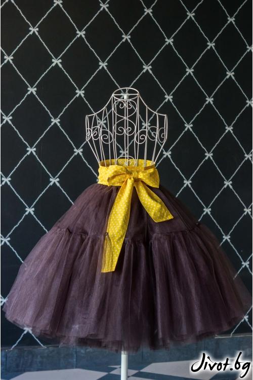 Тюлена дамска пола в кафяво със жълт колан/Cherie Marie