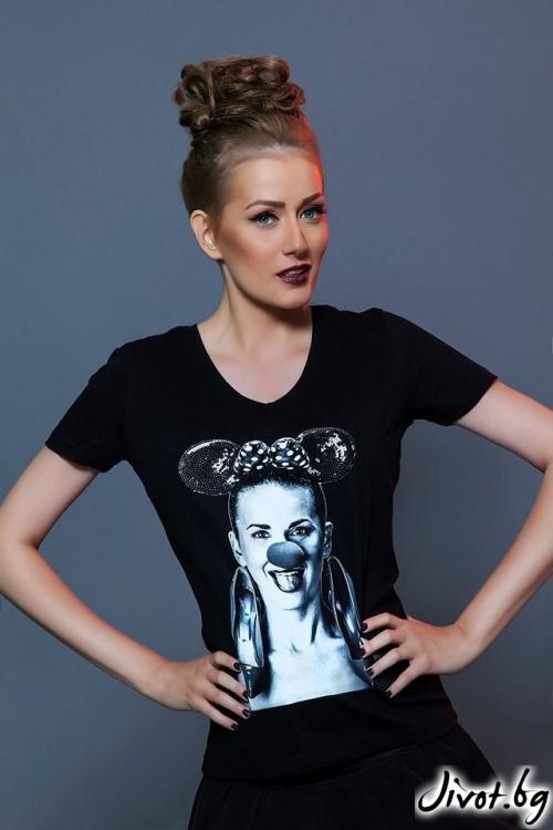 """Дамска черна тениска с принт """"Party animals""""/ LOOK AT ME"""