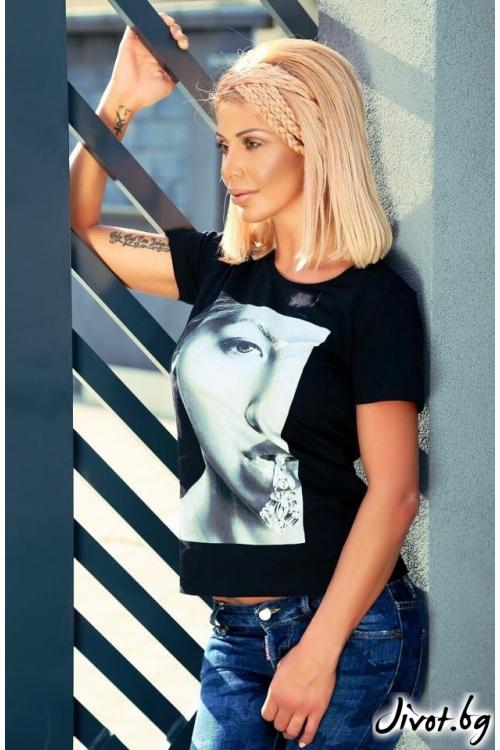 Дамска блуза с черно бяла щампа / LOOK AT ME