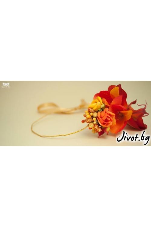 """Диадема в есени цветове с красиви цветя """"Yellow love""""/Forget-me-not"""