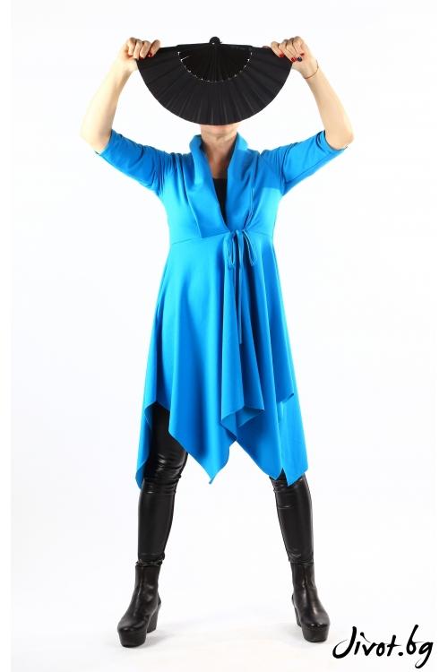 Синя дамска жилетка от трико с красив ревер / VЯRA за MUSE SHOP