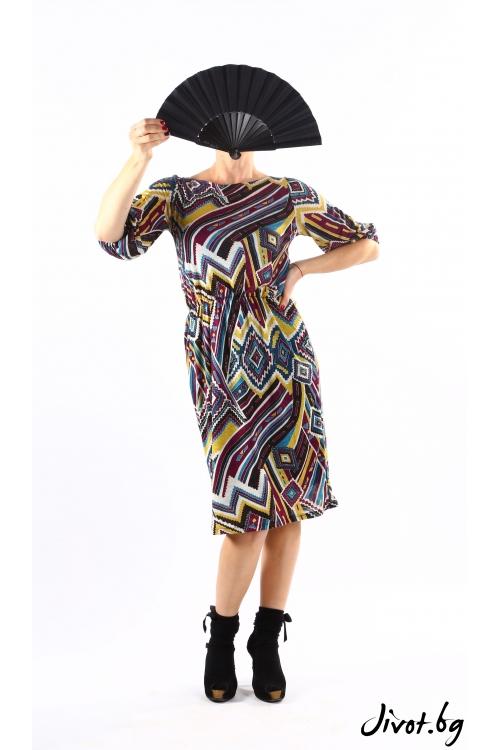 Дамска рокля в есенни тонове от плетиво / VЯRA за MUSE SHOP