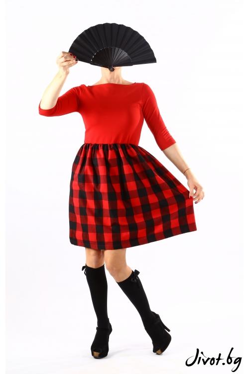 Красива дамска рокля в червено с каре / VЯRA за MUSE SHOP